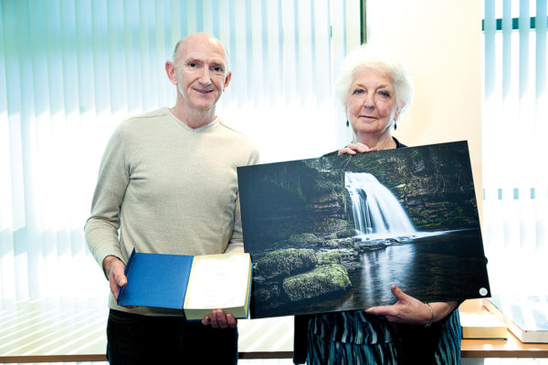 Graham Southward and Kate Brogden with winning photo Cauldron Falls