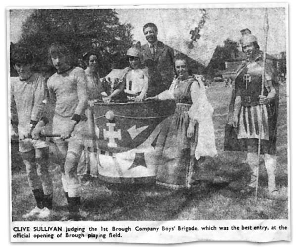 Newspaper clipping from 1973: Clive Sullivan at the official opening of Brough playing field