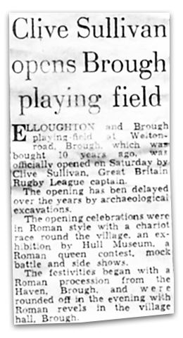 Newspaper clipping from 1973: Clive Sullivan opens Brough playing field