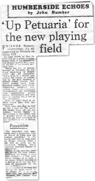 Newspaper clipping from 1973: 'Up Petuaria' for the new playing field