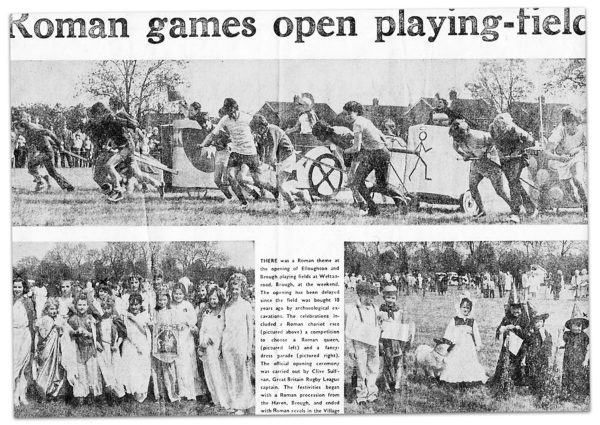 Newspaper clipping from 1973: Roman games open playing-field