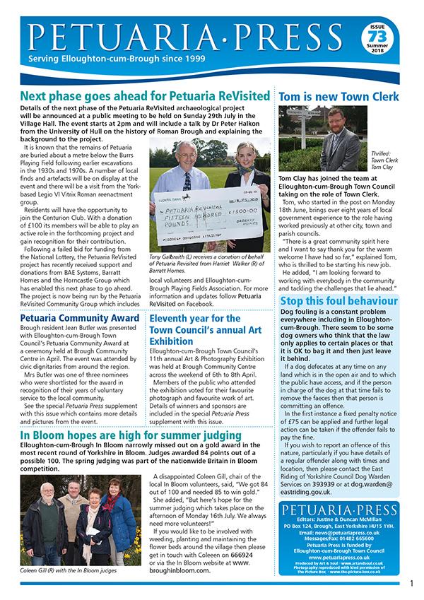 Petuaria Press 73 Summer 2018 front cover