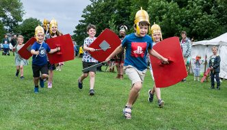 Local children at the Roman-themed pageant on Burrs field in Brough
